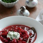 Borscht Recipe (Russian-Style Beet Soup) in White Bowl