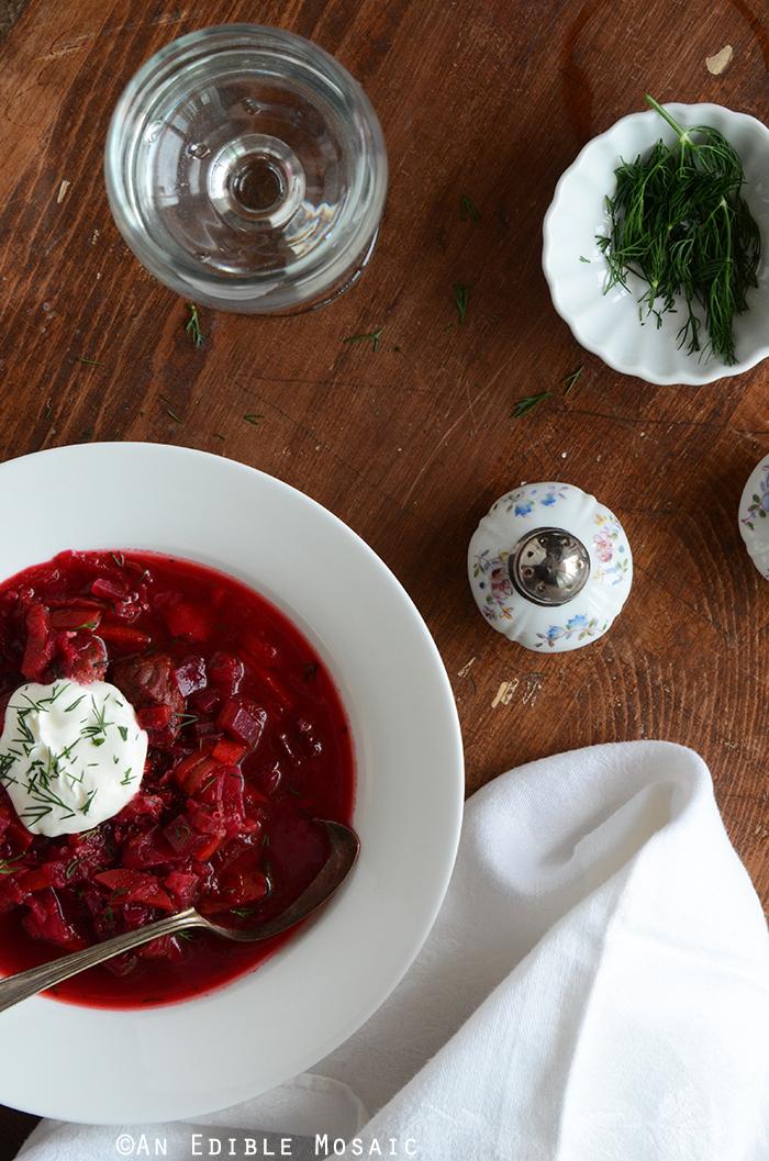 Top View of Borscht Recipe (Russian-Style Beet Soup)