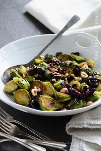 Caramelized Brussels Sprouts with Dark Cherry Sauce + Hazelnut