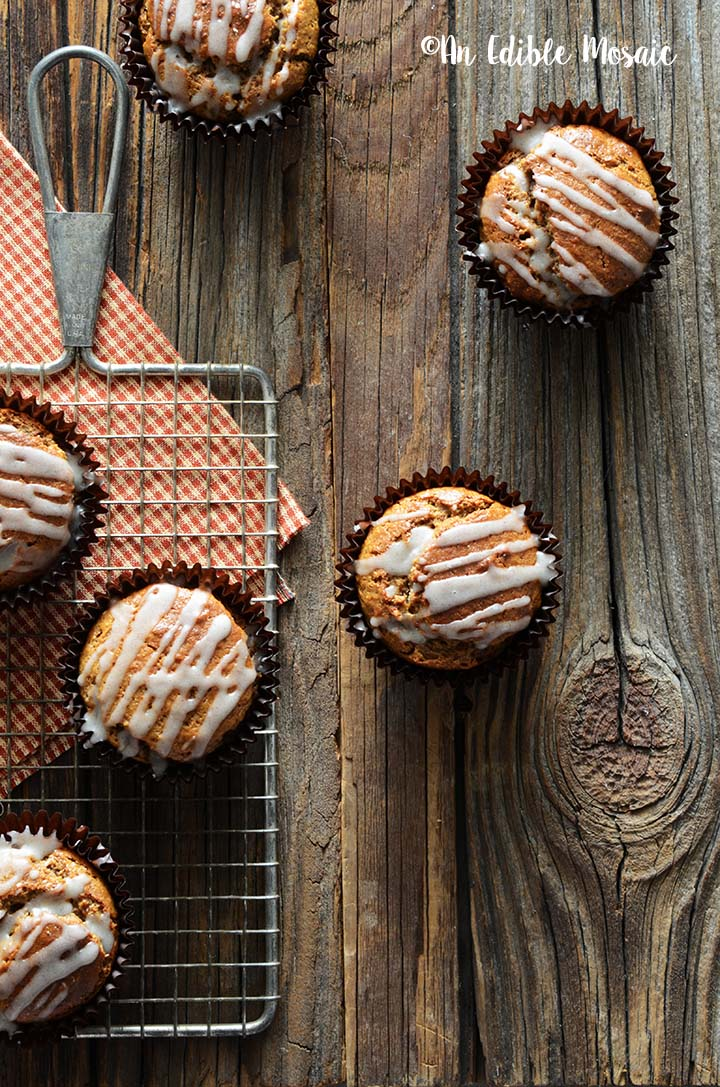 Overhead View of Cinnamon and Ginger Muffins Recipe with Festive Red Linen on Dark Wooden Table
