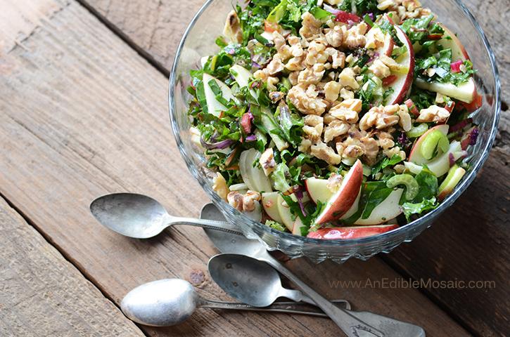 Apple-Walnut Rainbow Chard Salad 4
