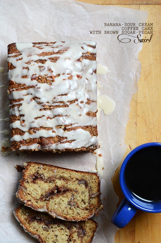 Banana-Sour Cream Coffee Cake with Brown Sugar-Pecan Swirl