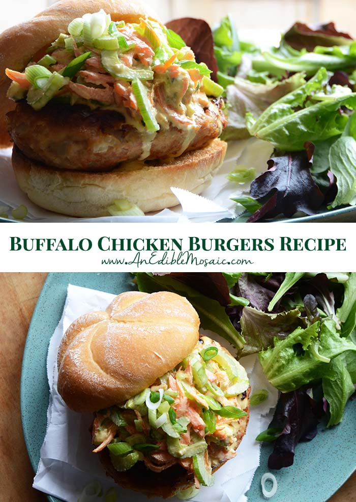 Buffalo Chicken Burgers Recipe Pin