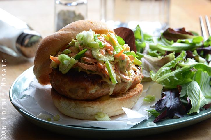 Buffalo Chicken Burgers with Spicy Blue Cheese Celery Slaw 3
