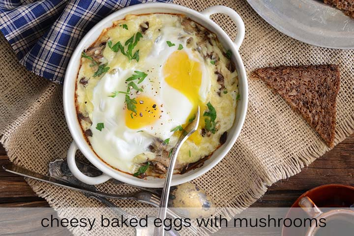 Cheesy Baked Eggs with Mushrooms Recipe with Description