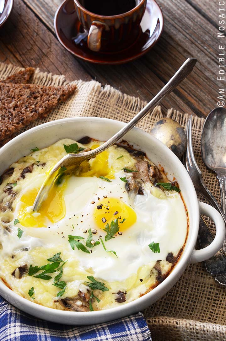 Cheesy Baked Eggs with Mushrooms