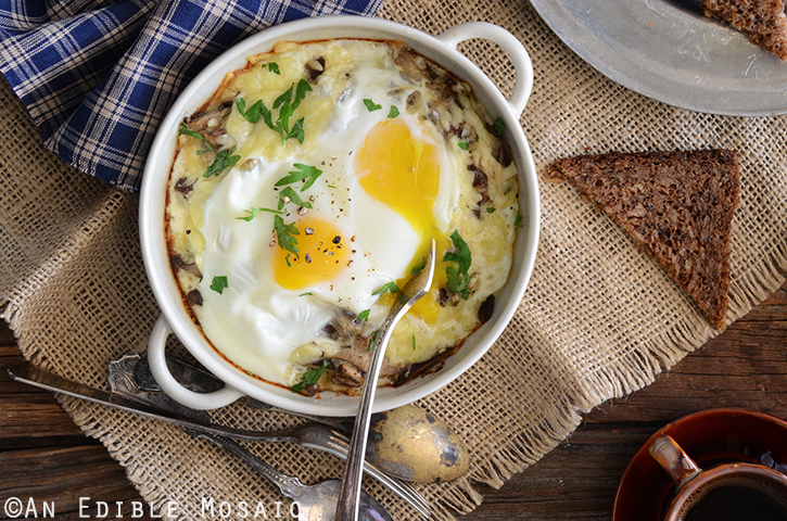 Cheesy Mushroom Baked Eggs for Two 3