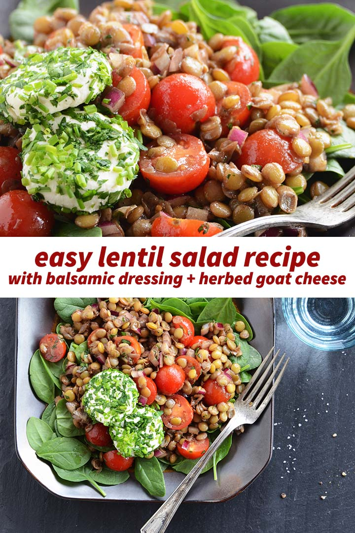 Easy Lentil Salad Recipe Pin