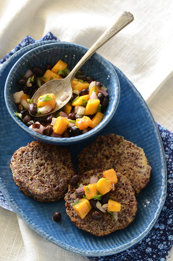 Garlicky Red Quinoa Patties with Mango Black Bean Salsa 2