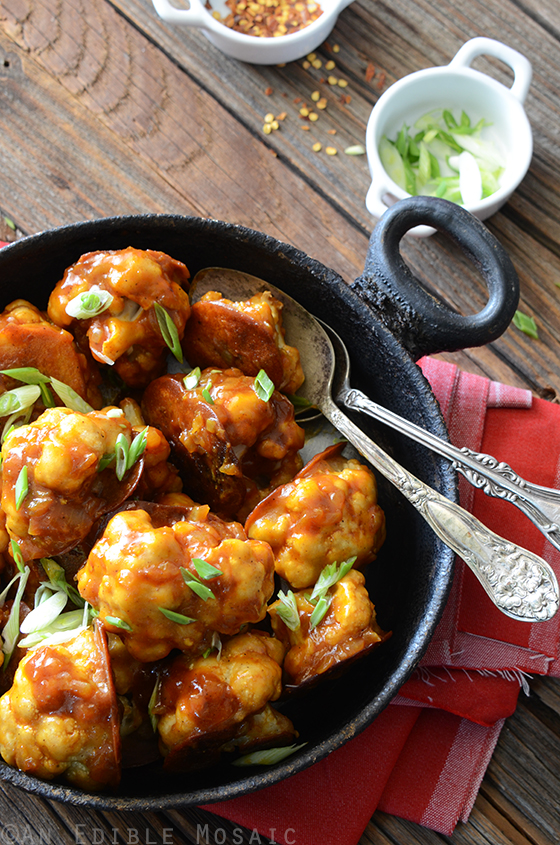 Healthier Roasted Gobi Manchurian Cauliflower In A Spicy Sauce An Edible Mosaic