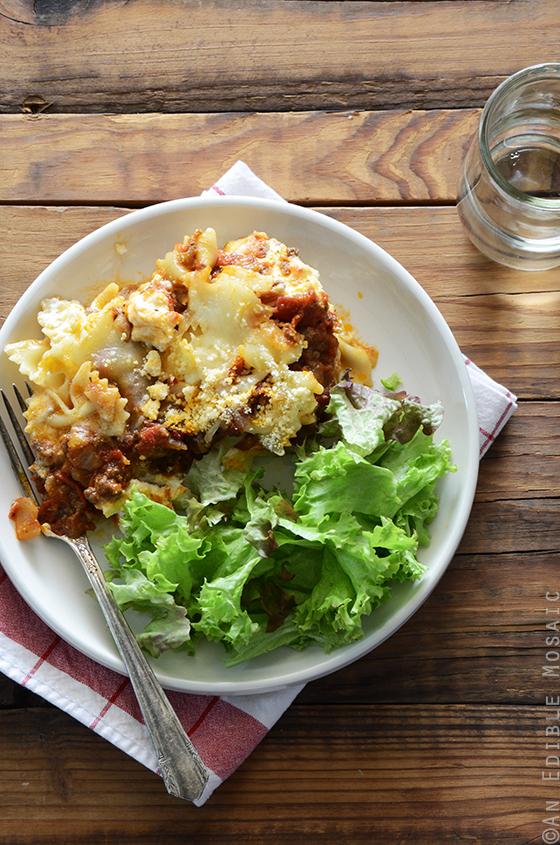 Quick Lasagna Casserole with Bowtie Pasta {aka Lazy Lasagna} 3