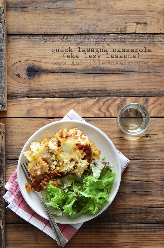 Quick Lasagna Casserole with Bowtie Pasta {aka Lazy Lasagna}