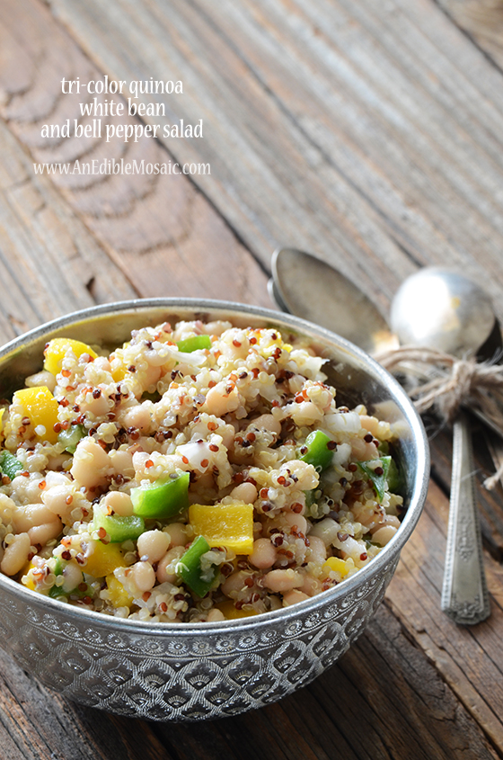 Tri-Color Quinoa, White Bean, and Bell Pepper Salad