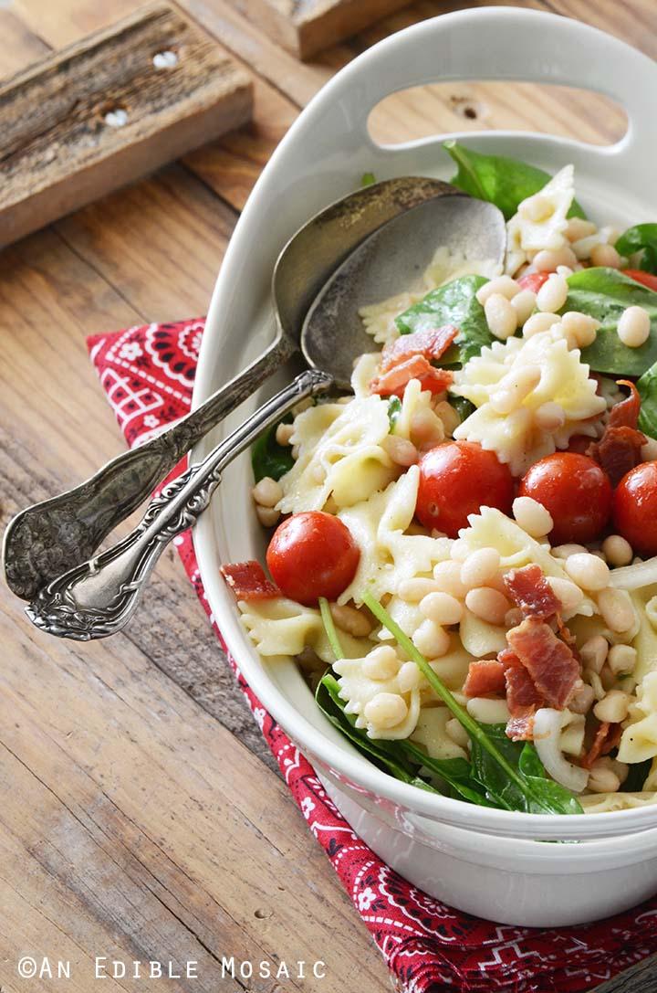 BLT Pasta Salad on Wooden Table