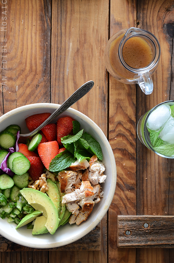 Chicken Salad Bowl with Avocado, Strawberry, and Walnut 3