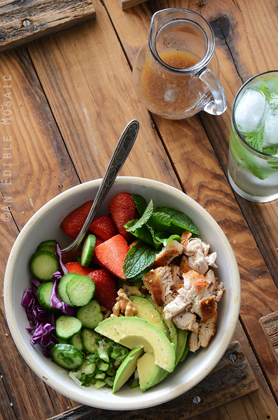 Chicken Salad Bowl with Avocado, Strawberry, and Walnut