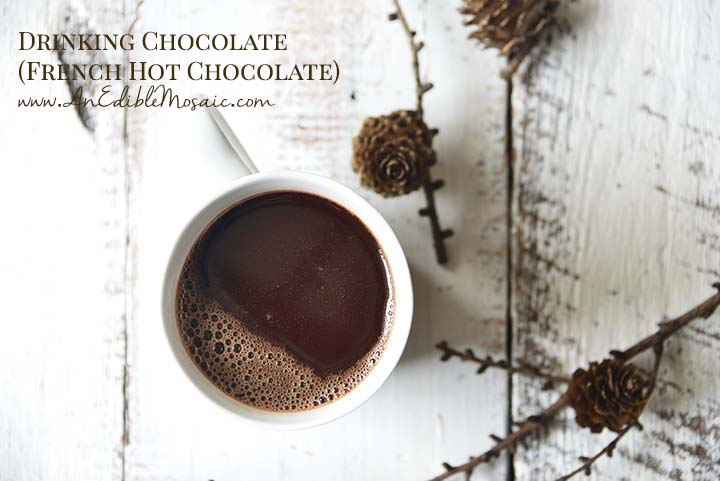 French Hot Chocolate in White Mug with Description