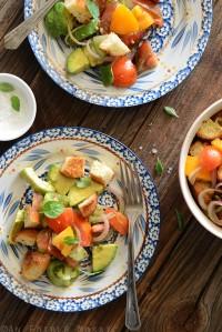 Heirloom Tomato and Avocado Panzanella Salad