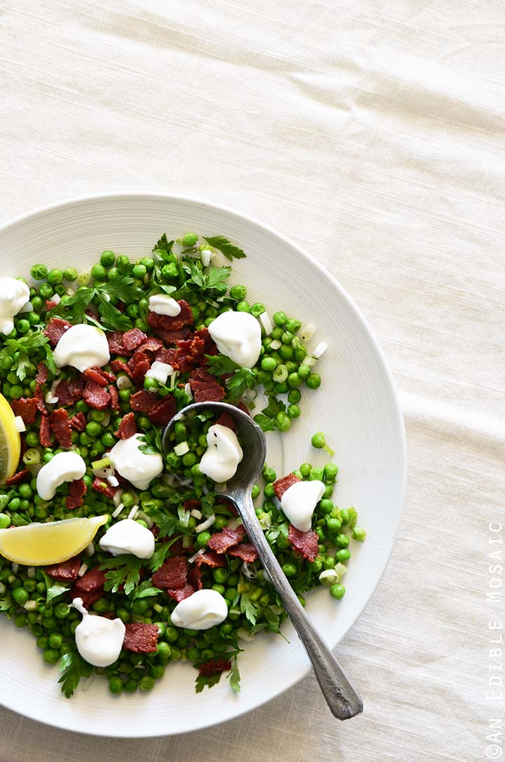 Springtime Pea Salad on White Serving Dish