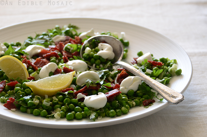 Sweet Pea Salad with Scallion, Bacon, and Lemon Cream Dressing 3