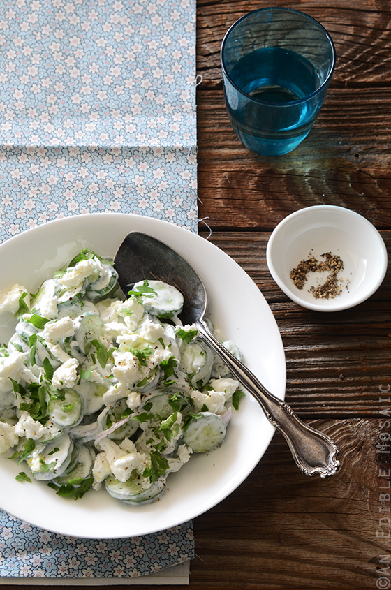 Creamy Cucumber Salad with Goat Cheese and Dill