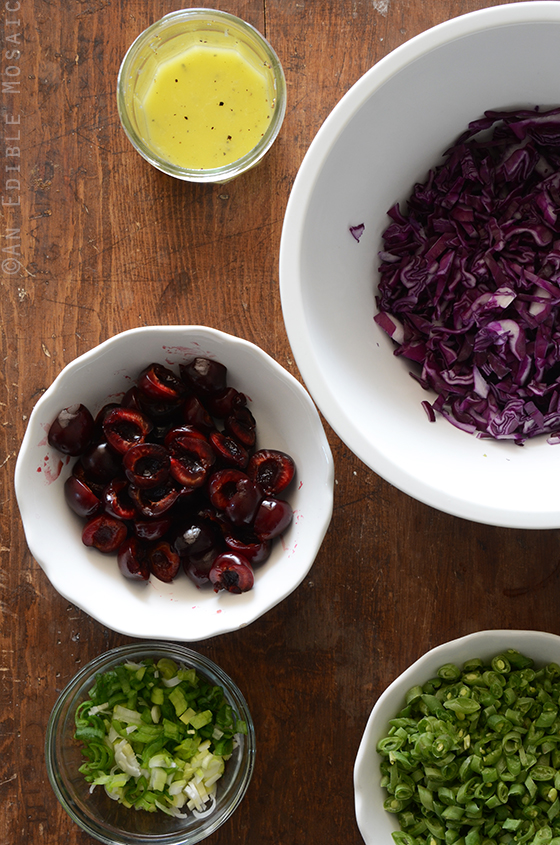 Ingredients for Green Bean Slaw with Cabbage, Cherries, and Lemonade Dressing