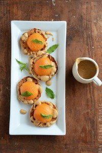 Apricot Benedict with Creamy Peanut Sauce