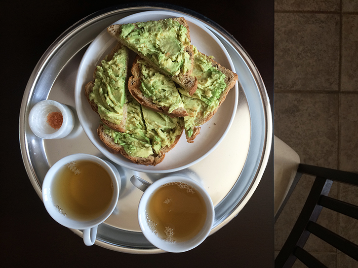 Avocado toast and green tea for two.