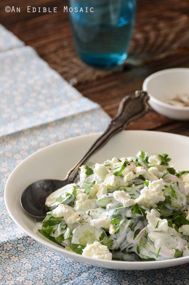 Front View of Creamy Cucumber Salad Recipe in White Dish