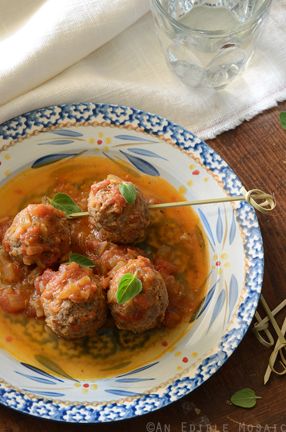 Tomato-Simmered Lemon and Oregano-Scented Bison Meatballs