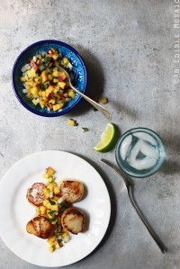 Pan-Seared Scallops with Fresh Peach Salsa {Paleo}