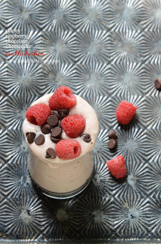 Skinny Raspberry-Chocolate Cheesecake Milkshakes