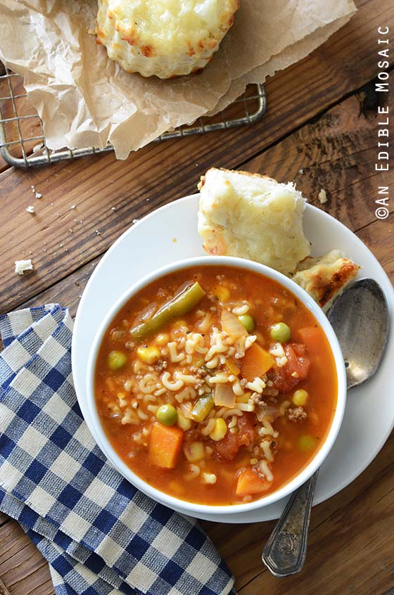 Easy Alphabet Soup Recipe in White Bowl with Savory Scones