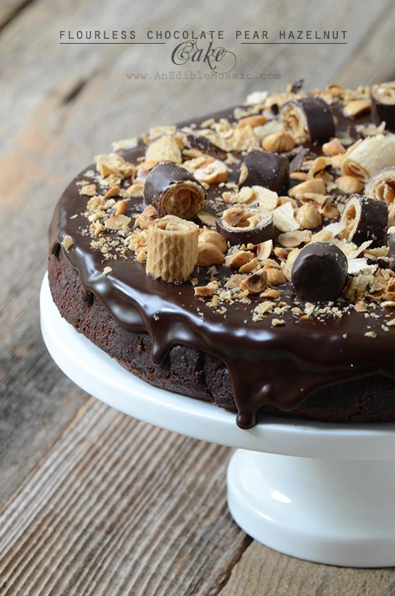 Flourless Chocolate Pear Hazelnut Cake with Bahlsen Waffeletten
