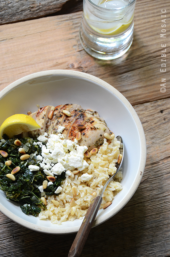 Herbed Chicken and Brown Rice Spanakopita Bowls