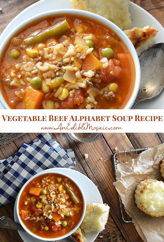 Vegetable Beef Alphabet Soup Recipe Pin