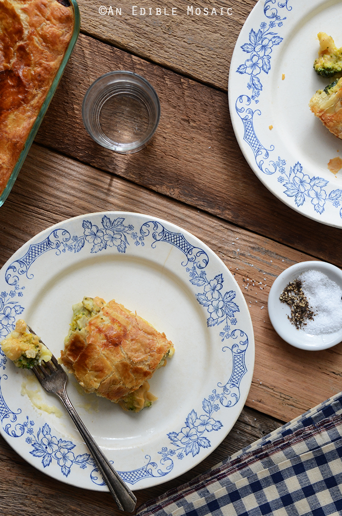 Leftover Turkey, Mashed Potato, and Broccoli Puff Pastry Pie with Cheddar Sauce