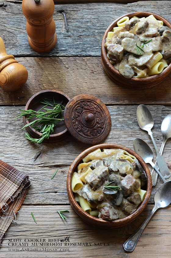 Slow Cooker Beef with Creamy Mushroom-Rosemary Sauce
