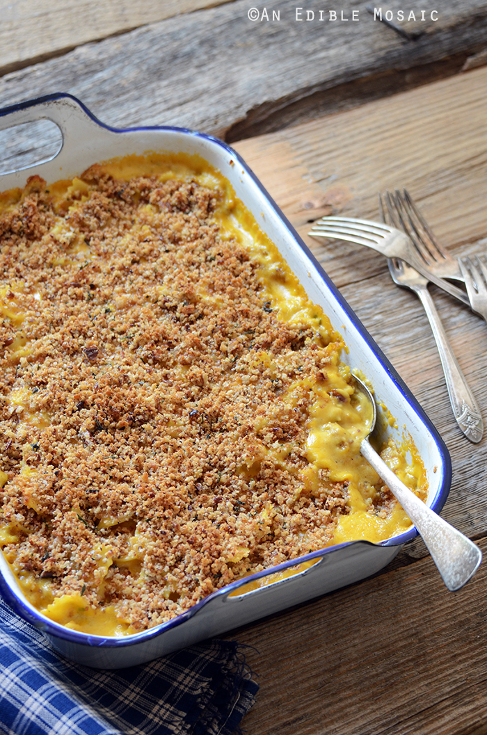 Spiced Pumpkin Mac and Cheese with Brown Butter, Sage, and Pecan Topping
