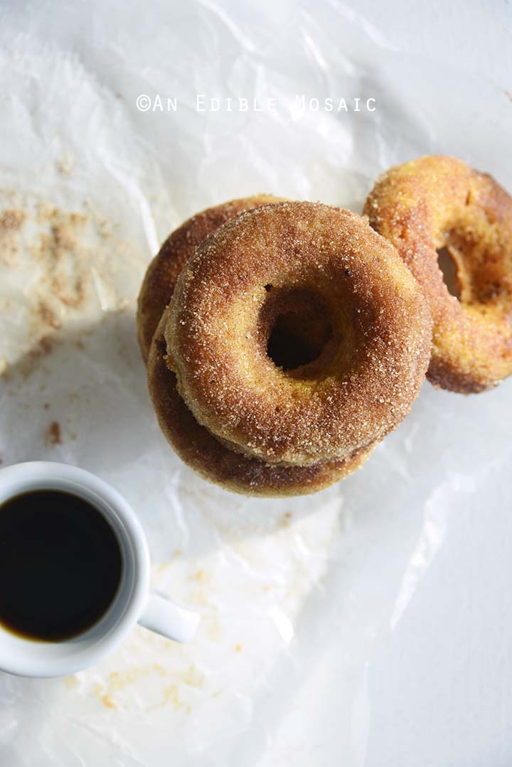Stack of Cinnamon Sugar Doughnuts with Coffee