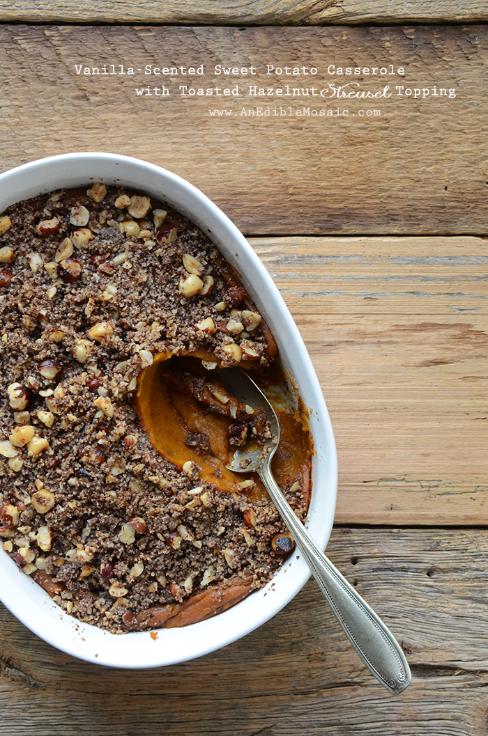 Vanilla-Scented Sweet Potato Casserole with Toasted Hazelnut Streusel Topping {Paleo}
