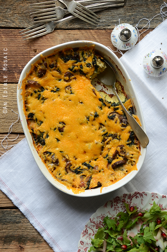 Breakfast Sausage, Mushroom, and Spinach Strata {Lactose-Free}