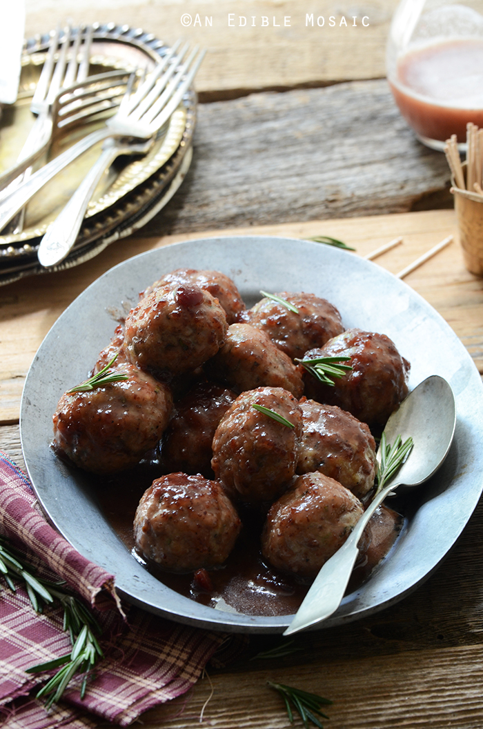 Herbed Roquefort-Stuffed Turkey Meatballs with Cranberry Apple Glaze