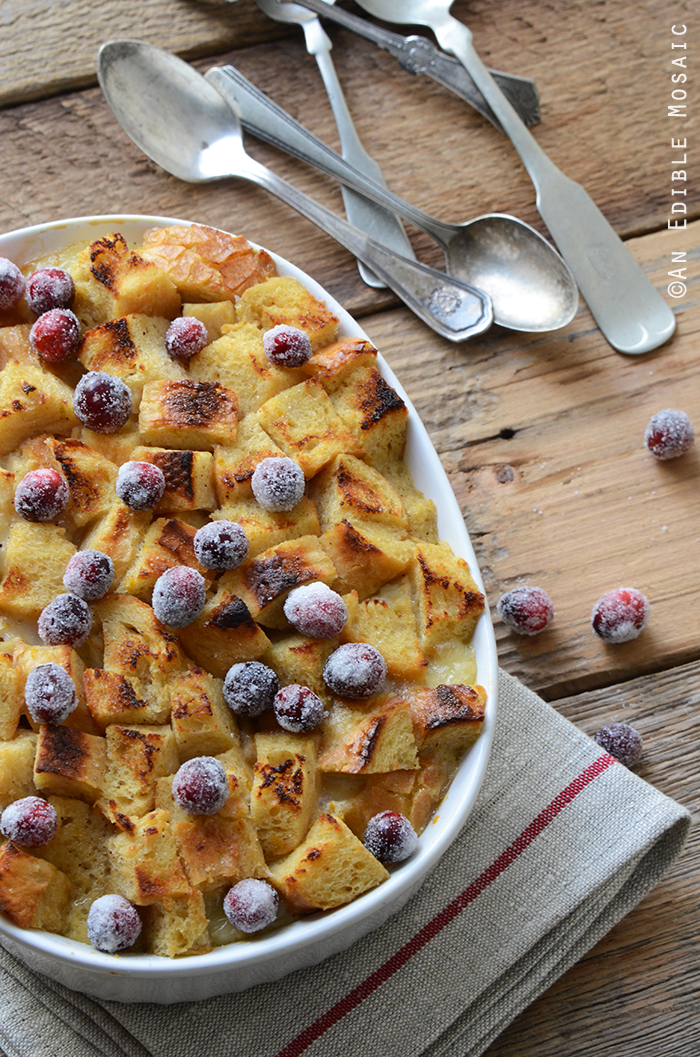 Orange and Nutmeg-Scented Brown Sugar Bread Pudding with Melted Brie and Sugared Cranberries 2