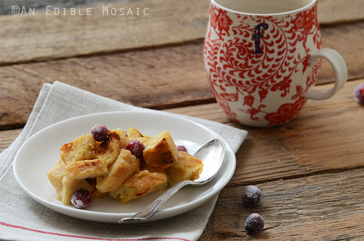 Orange and Nutmeg-Scented Brown Sugar Bread Pudding with Melted Brie and Sugared Cranberries 4