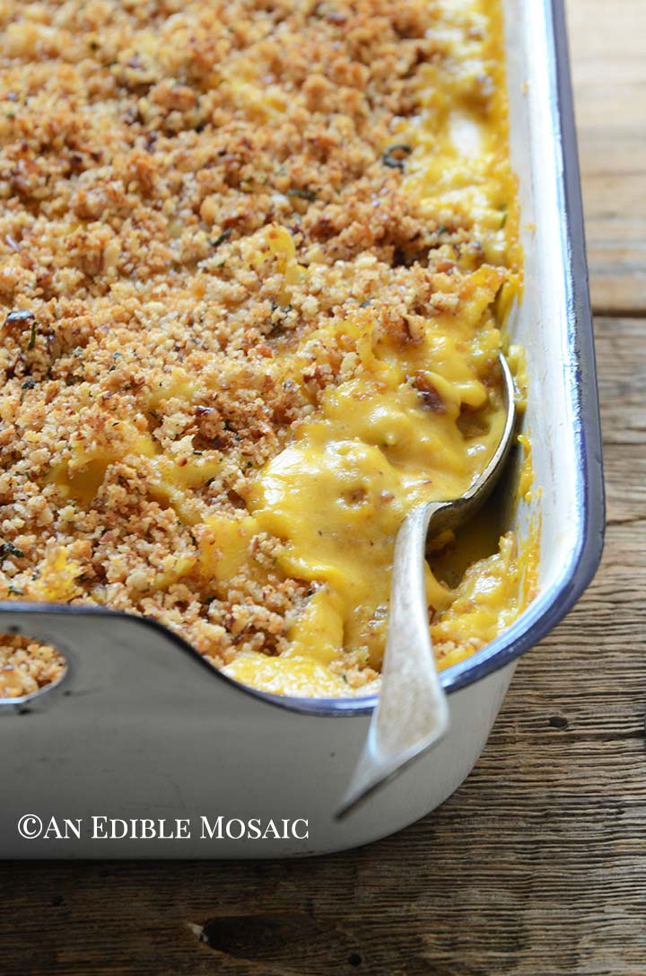 Close Up Front View of Pumpkin Mac and Cheese Recipe