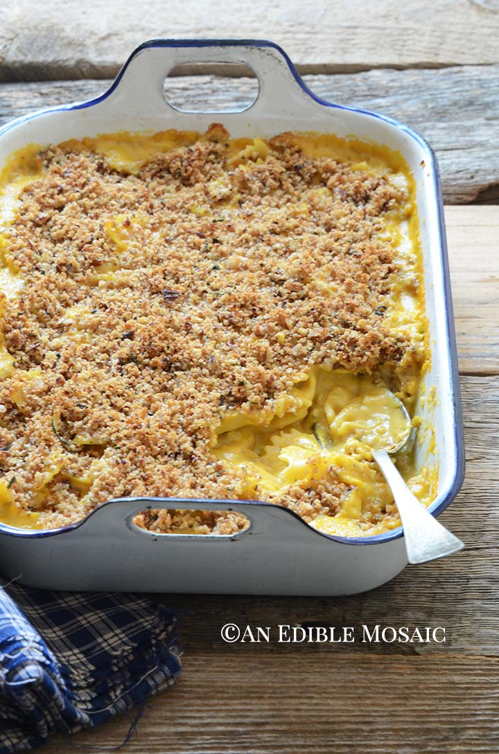 Front view of Pumpkin Macaroni and Cheese in Casserole Dish