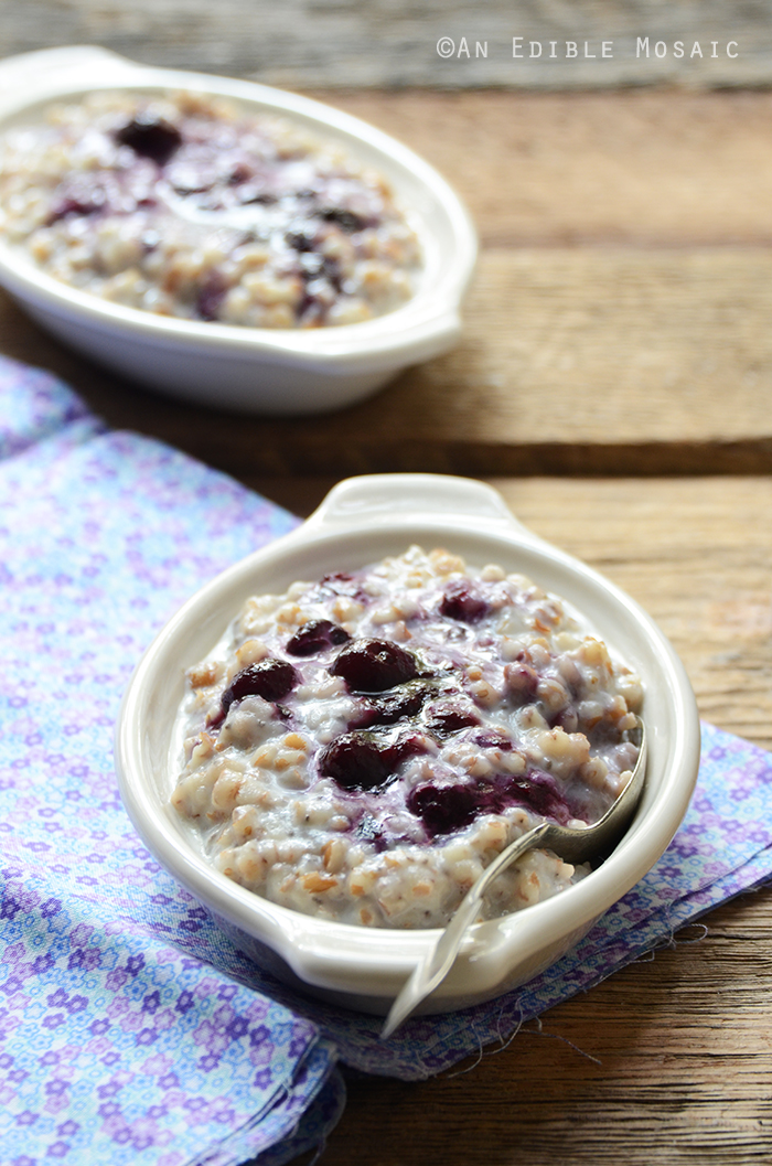 Creamy Wheat Berry Porridge with Gingered Blueberry Topping {Vegan} 3