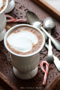 Skinny Vanilla-Peppermint Mocha Lattes on Vintage Wooden Tray with Vintage Spoons