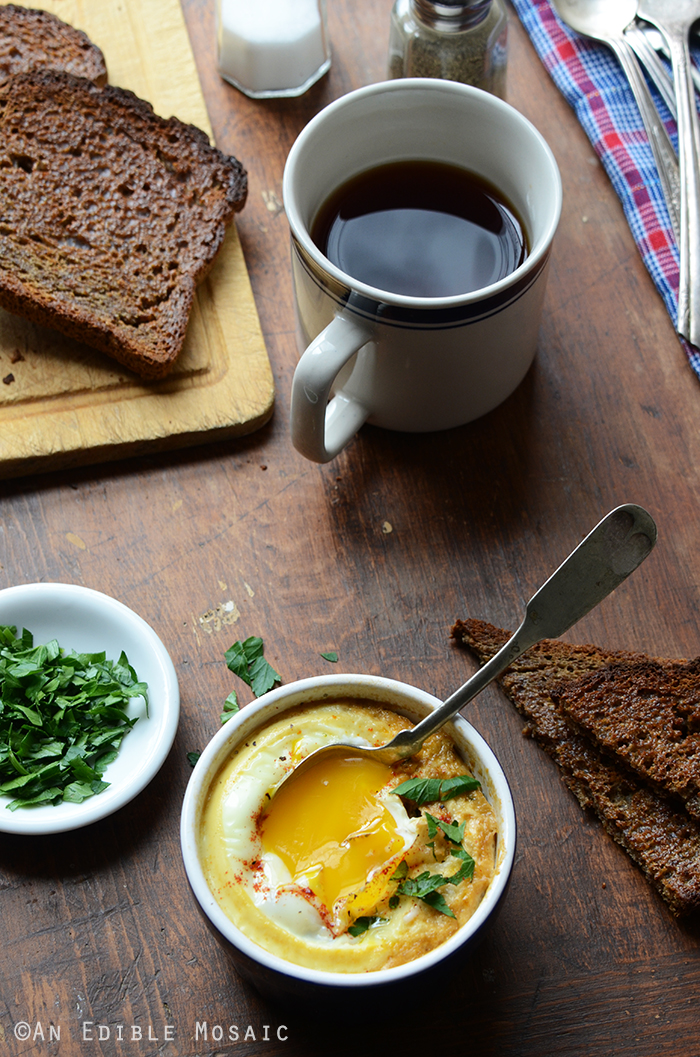 Baked Eggs with Smoky Caramelized Onion and Wilted Chard {Lactose-Free; Gluten-Free} 2